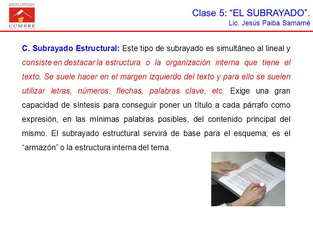 Clase 5: EL SUBRAYADO . Lic. Jesús Paiba Samamé.