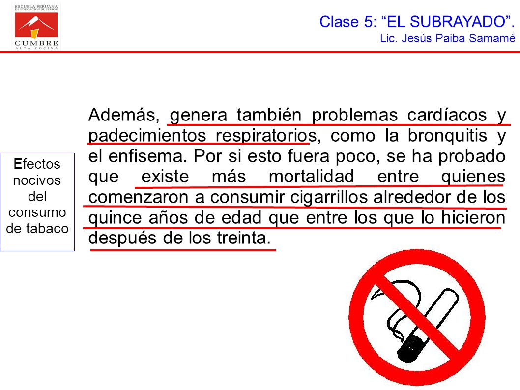 Efectos nocivos del consumo de tabaco