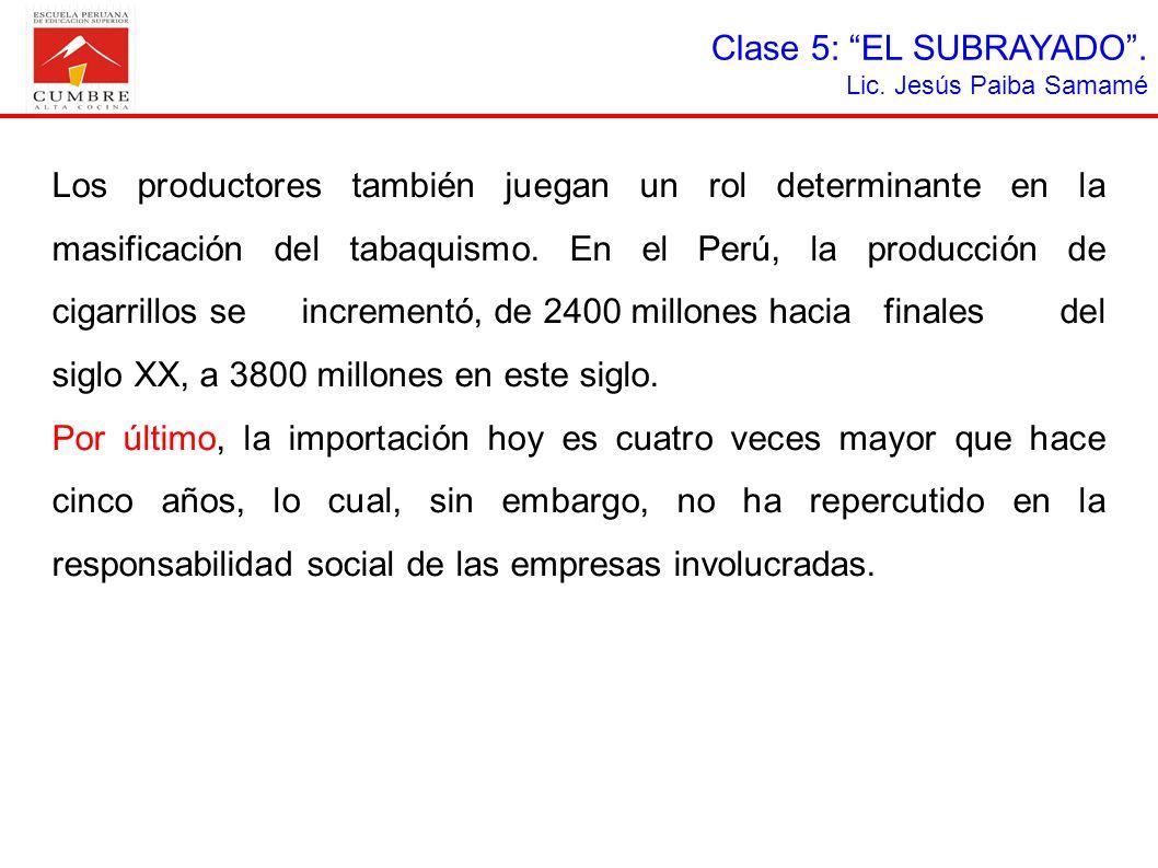 Clase 5: EL SUBRAYADO .Lic. Jesús Paiba Samamé.