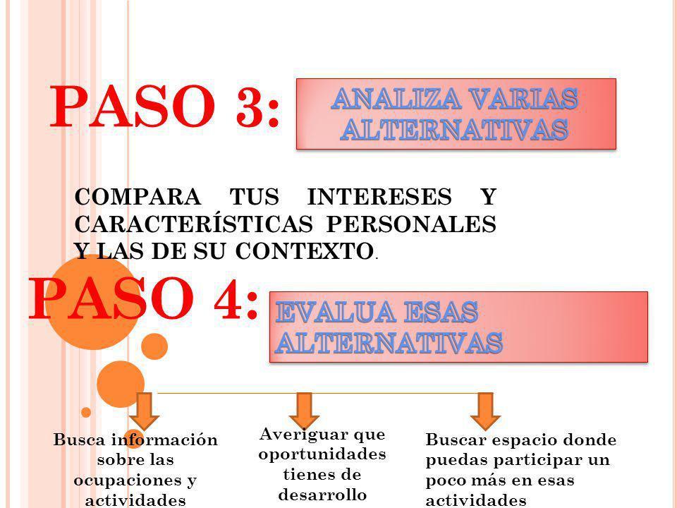 PASO 3: PASO 4: ANALIZA VARIAS ALTERNATIVAS EVALUA ESAS ALTERNATIVAS