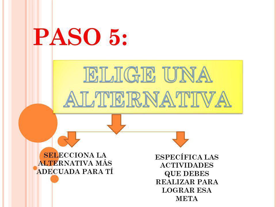 PASO 5: ELIGE UNA ALTERNATIVA