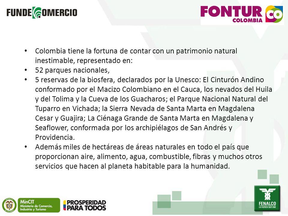 Colombia tiene la fortuna de contar con un patrimonio natural inestimable, representado en: