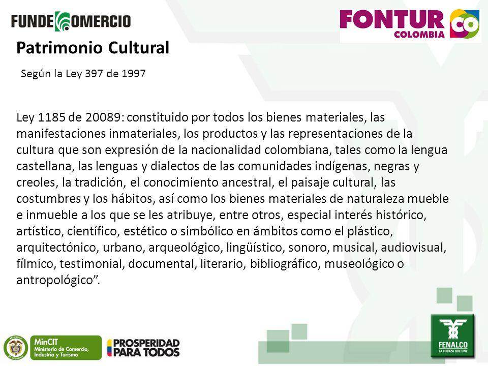 Patrimonio Cultural Según la Ley 397 de 1997.