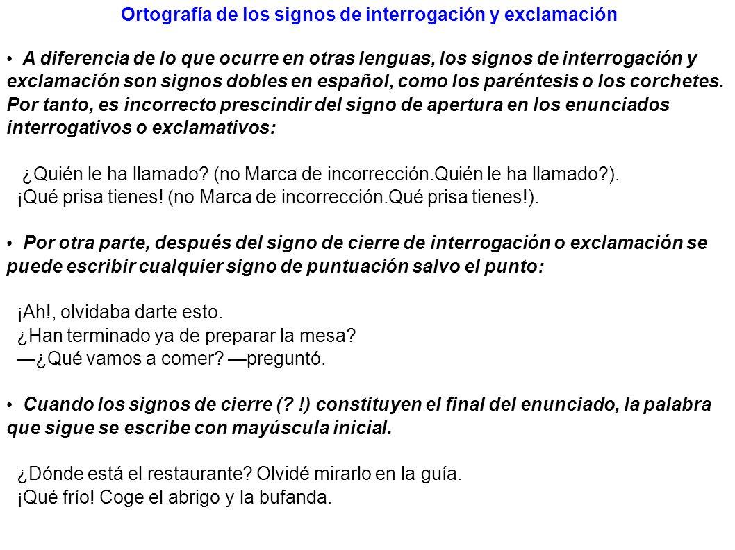 Ortografía de los signos de interrogación y exclamación
