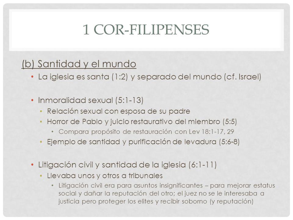 1 Cor-Filipenses (b) Santidad y el mundo