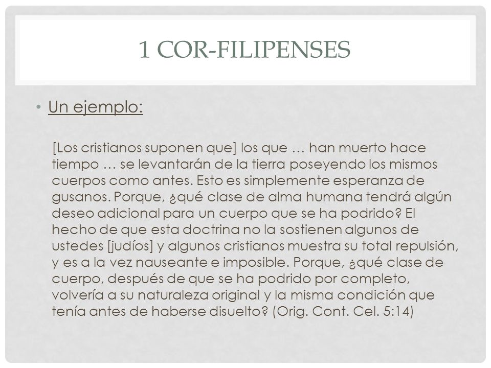 1 Cor-Filipenses Un ejemplo: