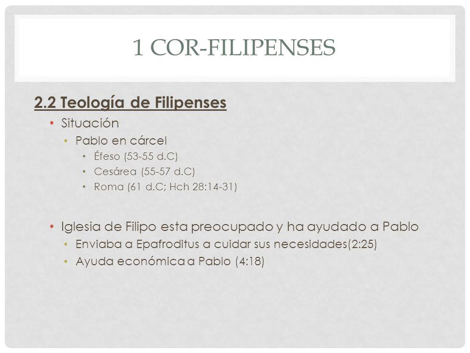 1 Cor-Filipenses 2.2 Teología de Filipenses Situación