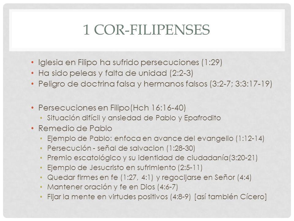 1 Cor-Filipenses Iglesia en Filipo ha sufrido persecuciones (1:29)