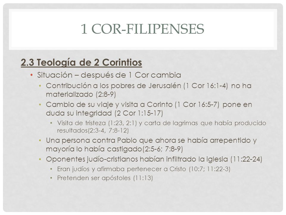 1 Cor-Filipenses 2.3 Teología de 2 Corintios