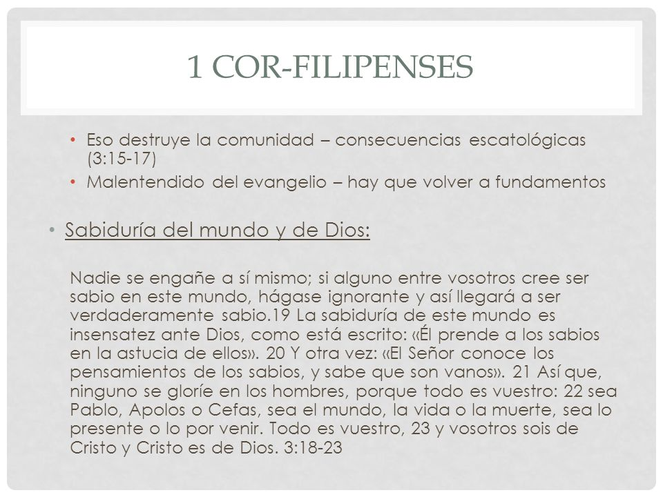 1 Cor-Filipenses Sabiduría del mundo y de Dios: