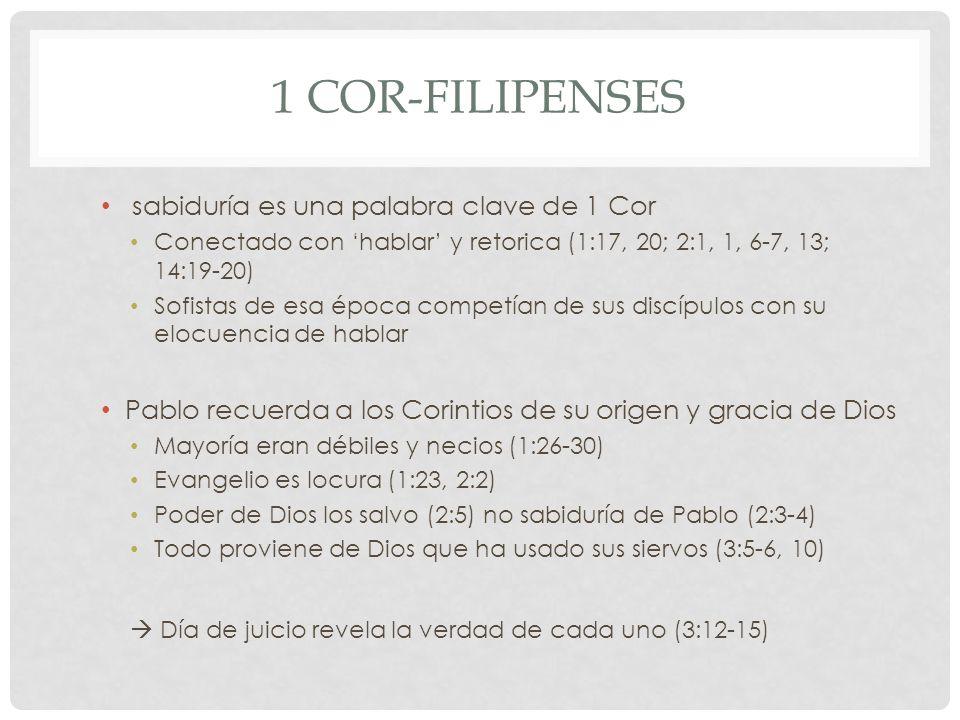 1 Cor-Filipenses sabiduría es una palabra clave de 1 Cor