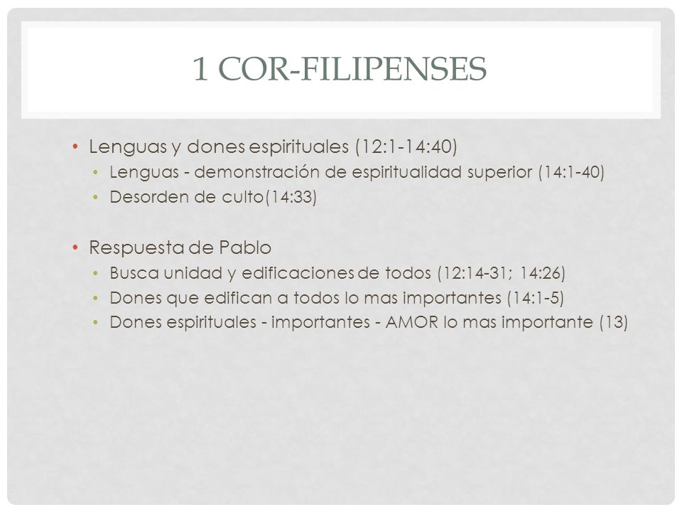 1 Cor-Filipenses Lenguas y dones espirituales (12:1-14:40)