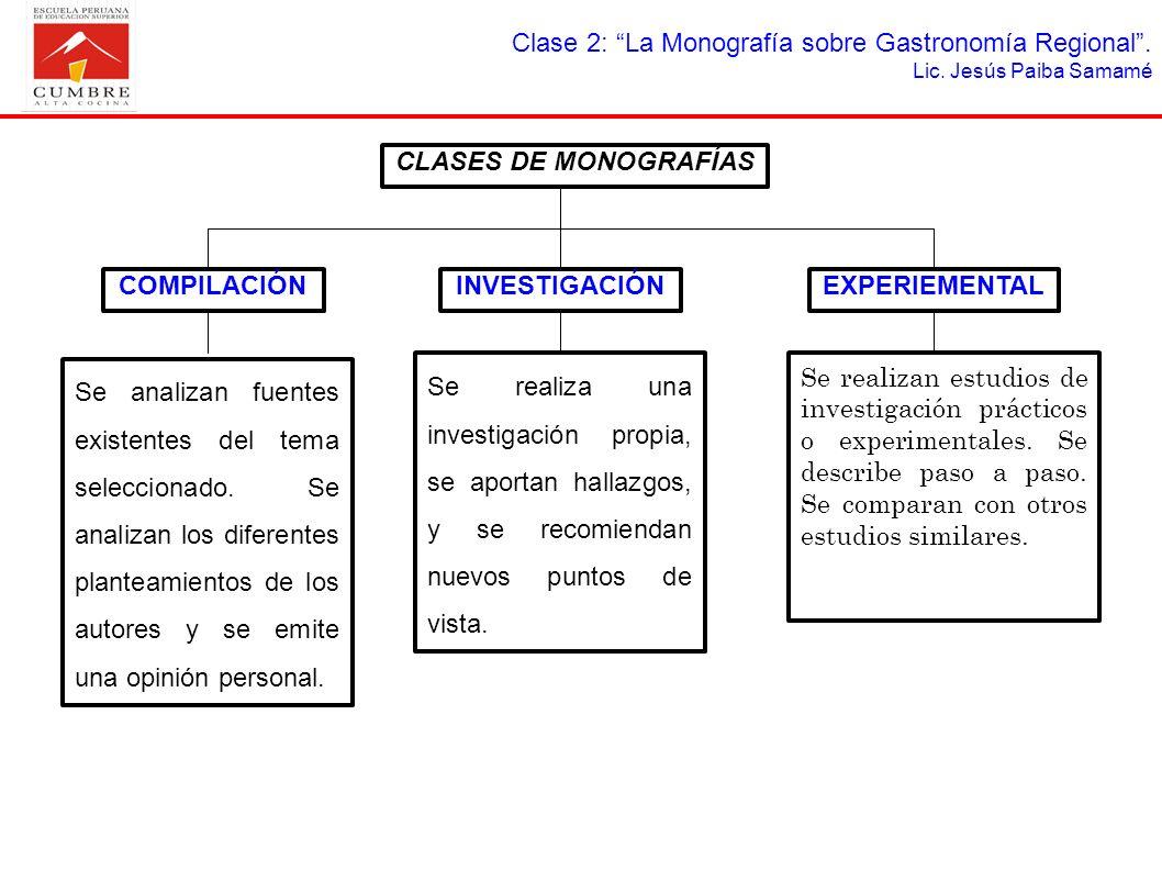 CLASES DE MONOGRAFÍAS COMPILACIÓN INVESTIGACIÓN EXPERIEMENTAL