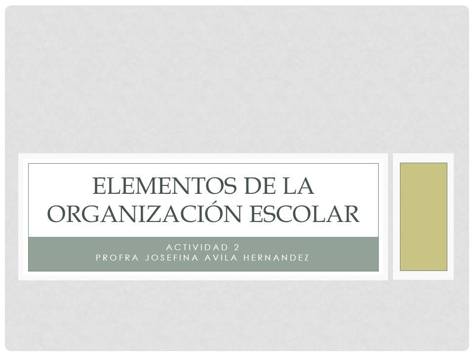 ELEMENTOS DE LA ORGANIZACIÓN ESCOLAR