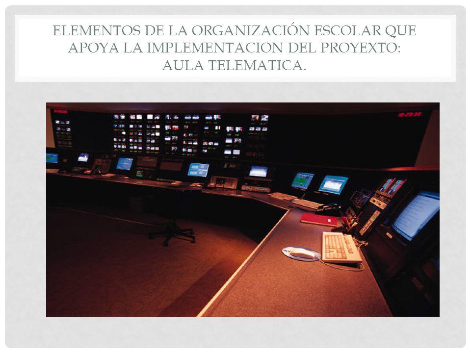 ELEMENTOS DE LA ORGANIZACIÓN ESCOLAR QUE APOYA LA IMPLEMENTACION DEL PROYEXTO: AULA TELEMATICA.
