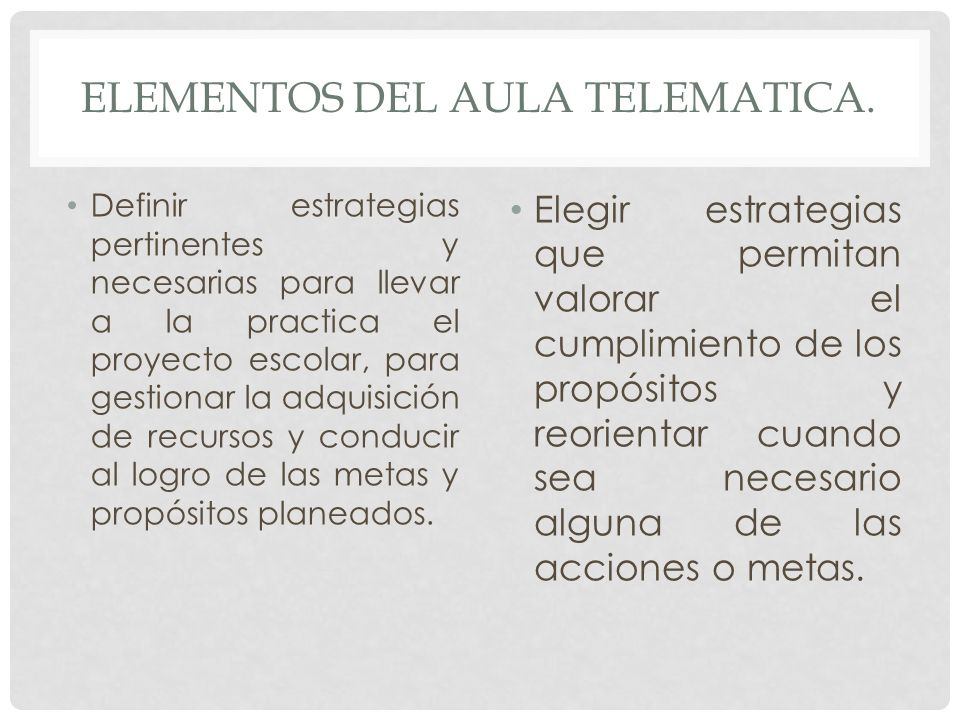 Elementos del aula telematica.