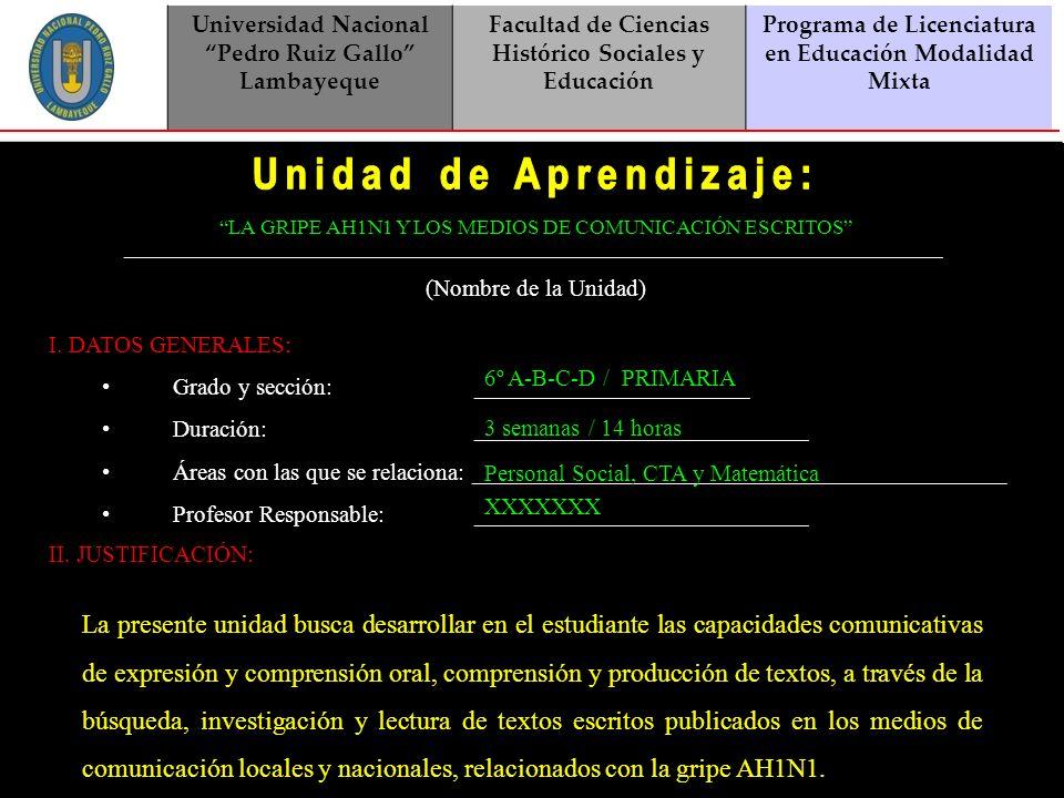Universidad Nacional Pedro Ruiz Gallo Lambayeque. Facultad de Ciencias Histórico Sociales y Educación.