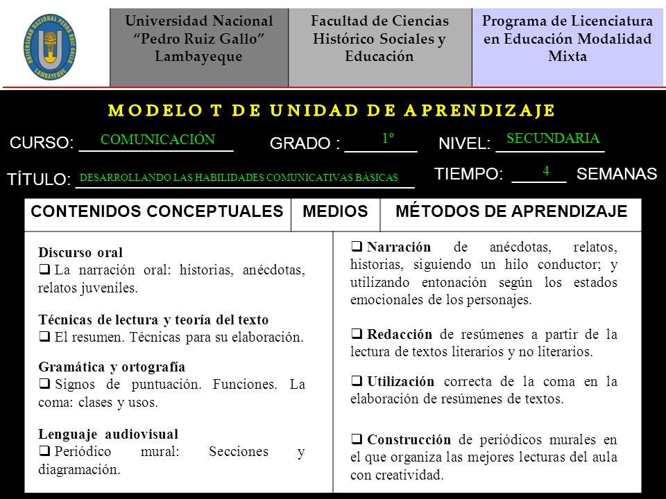 CONTENIDOS CONCEPTUALES MEDIOS MÉTODOS DE APRENDIZAJE