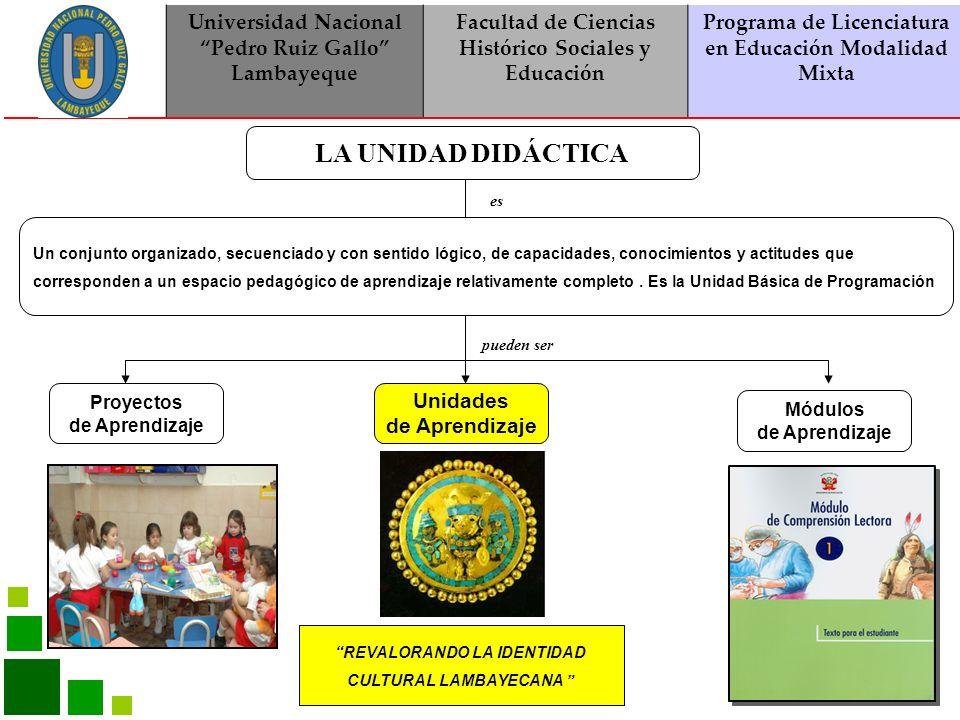 LA UNIDAD DIDÁCTICA Universidad Nacional Pedro Ruiz Gallo Lambayeque