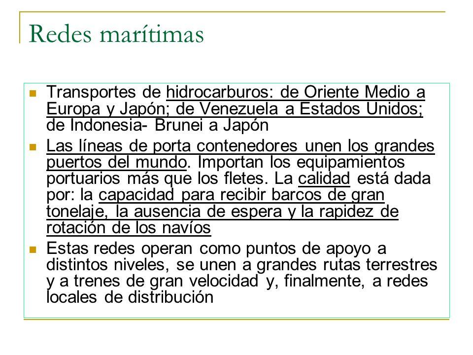 Redes marítimas Transportes de hidrocarburos: de Oriente Medio a Europa y Japón; de Venezuela a Estados Unidos; de Indonesia- Brunei a Japón.