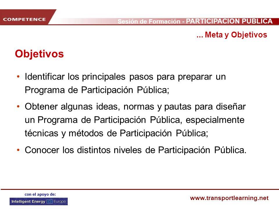 ... Meta y Objetivos Objetivos. Identificar los principales pasos para preparar un Programa de Participación Pública;