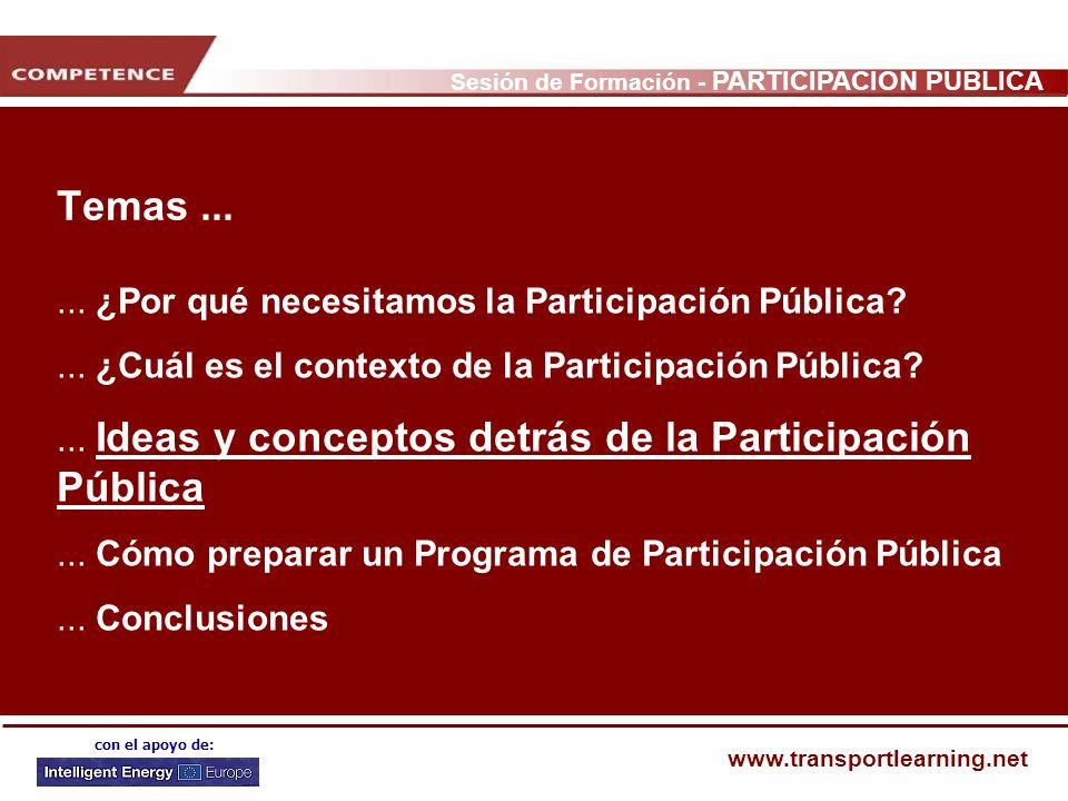 Temas ... ... ¿Por qué necesitamos la Participación Pública