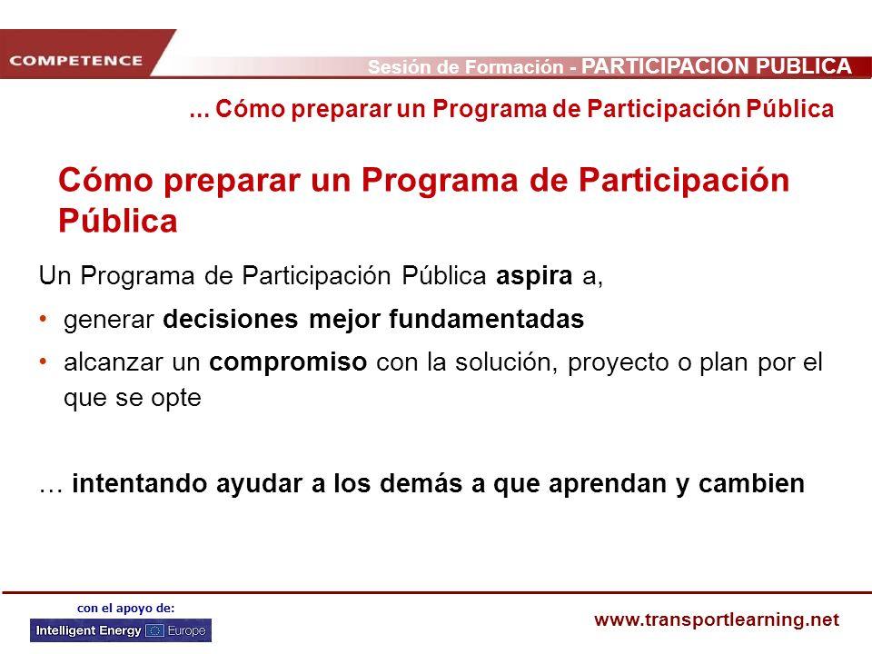 Cómo preparar un Programa de Participación Pública