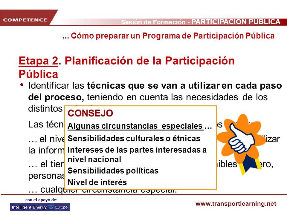 Etapa 2. Planificación de la Participación Pública