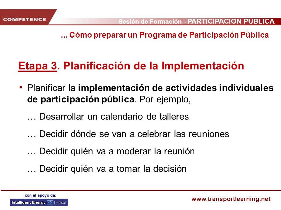 Etapa 3. Planificación de la Implementación