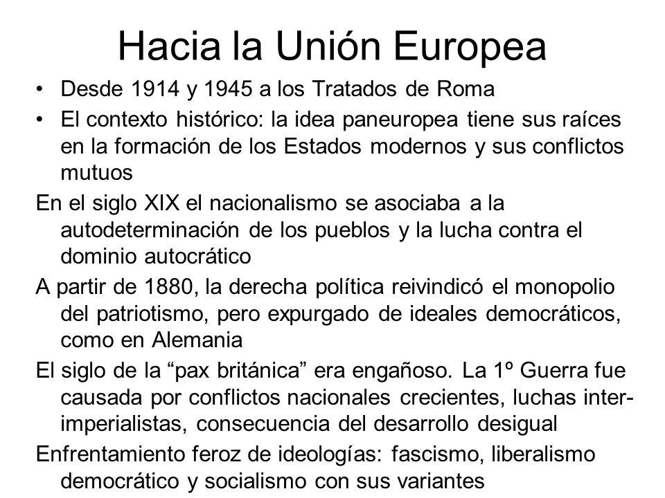 Hacia la Unión Europea Desde 1914 y 1945 a los Tratados de Roma