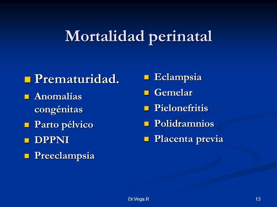 Mortalidad perinatal Prematuridad. Eclampsia Gemelar