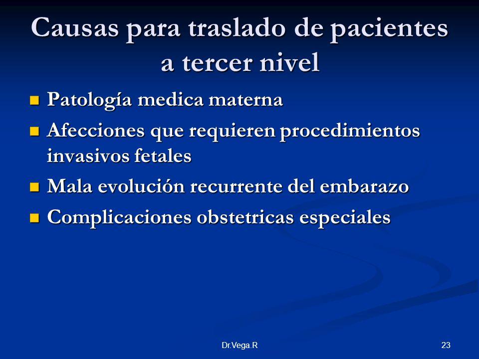 Causas para traslado de pacientes a tercer nivel