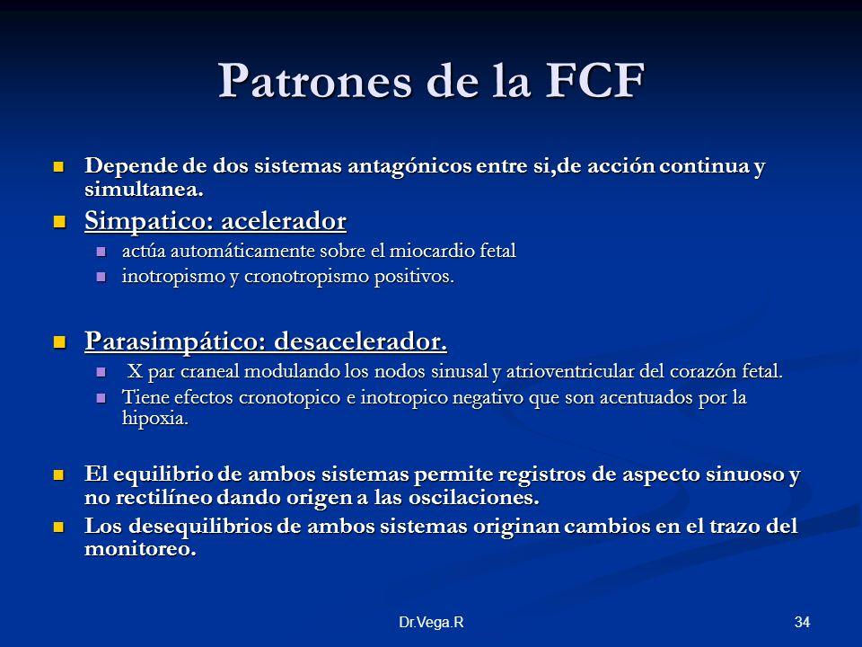 Patrones de la FCF Simpatico: acelerador Parasimpático: desacelerador.