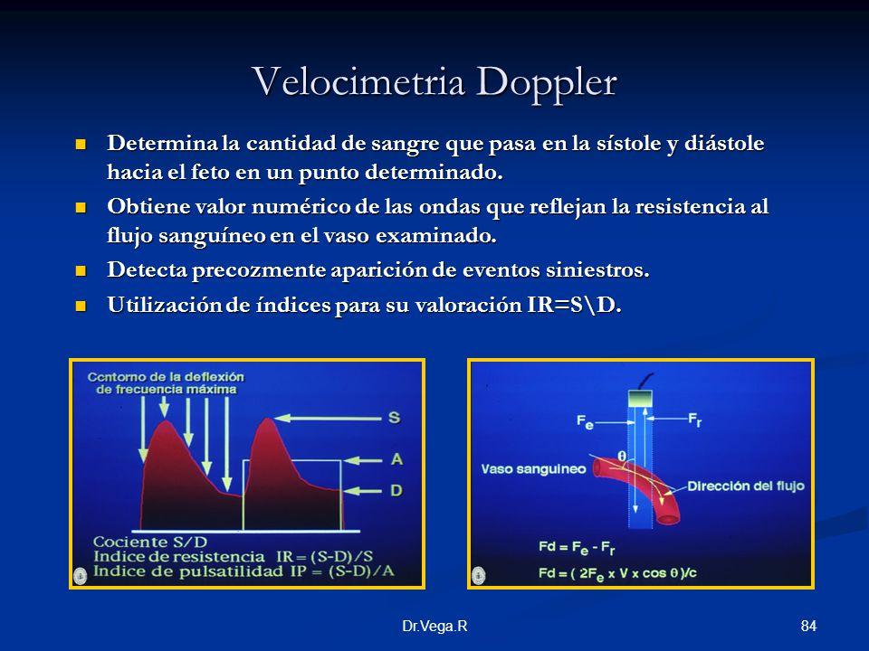 Velocimetria Doppler Determina la cantidad de sangre que pasa en la sístole y diástole hacia el feto en un punto determinado.