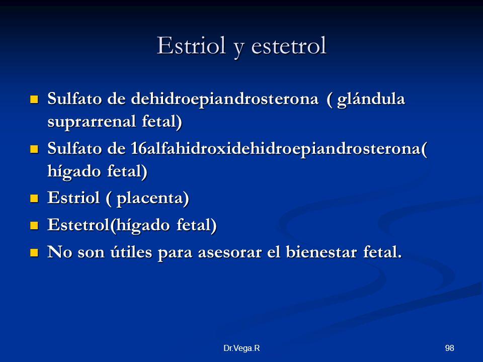 Estriol y estetrol Sulfato de dehidroepiandrosterona ( glándula suprarrenal fetal) Sulfato de 16alfahidroxidehidroepiandrosterona( hígado fetal)