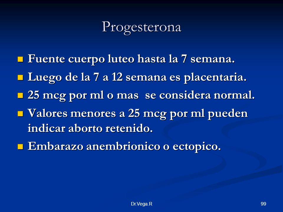 Progesterona Fuente cuerpo luteo hasta la 7 semana.