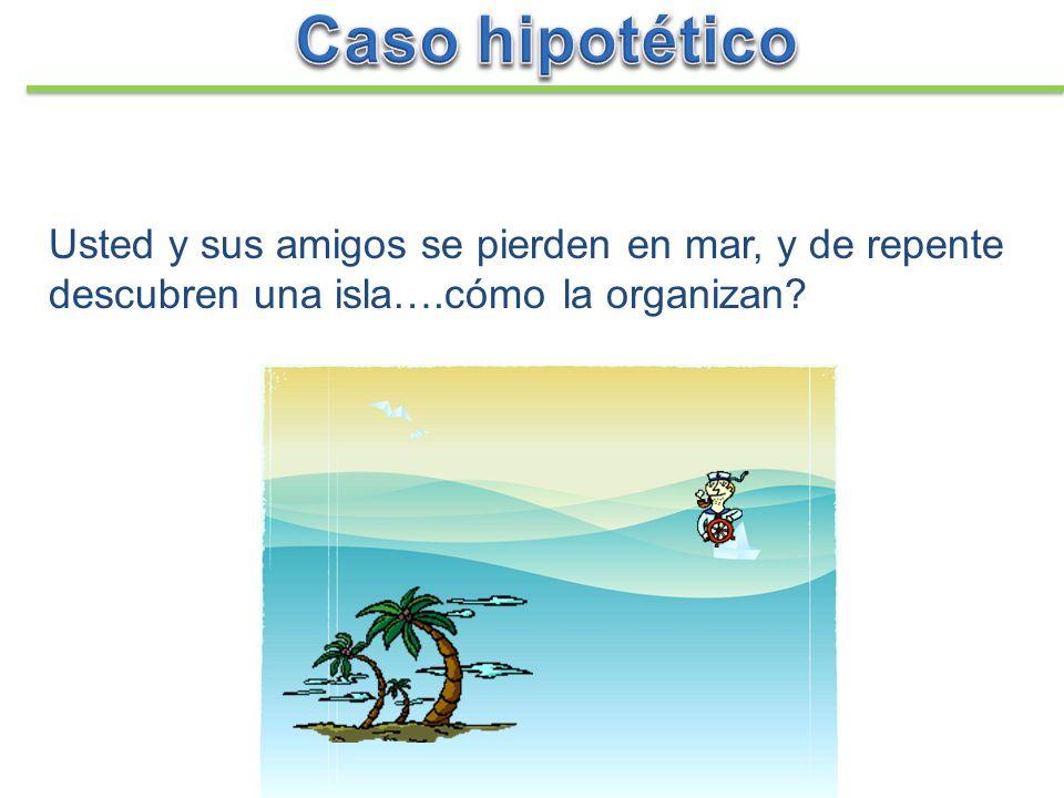 Caso hipotético Usted y sus amigos se pierden en mar, y de repente descubren una isla….cómo la organizan
