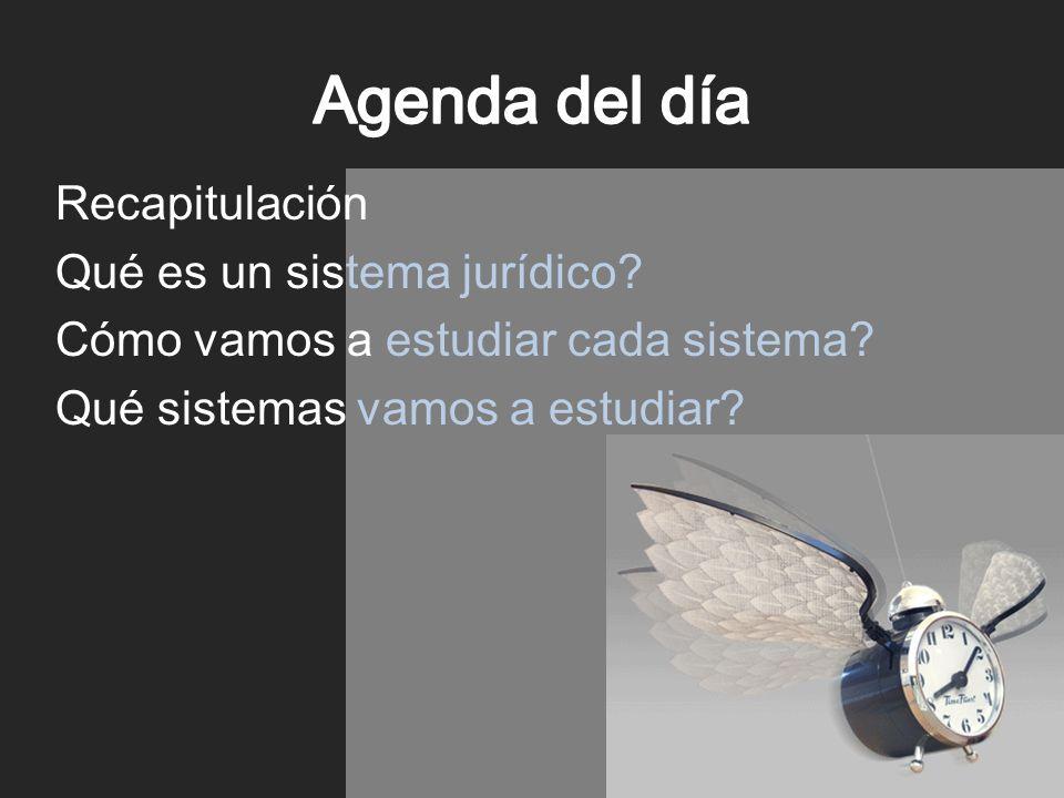 Agenda del día Recapitulación Qué es un sistema jurídico.