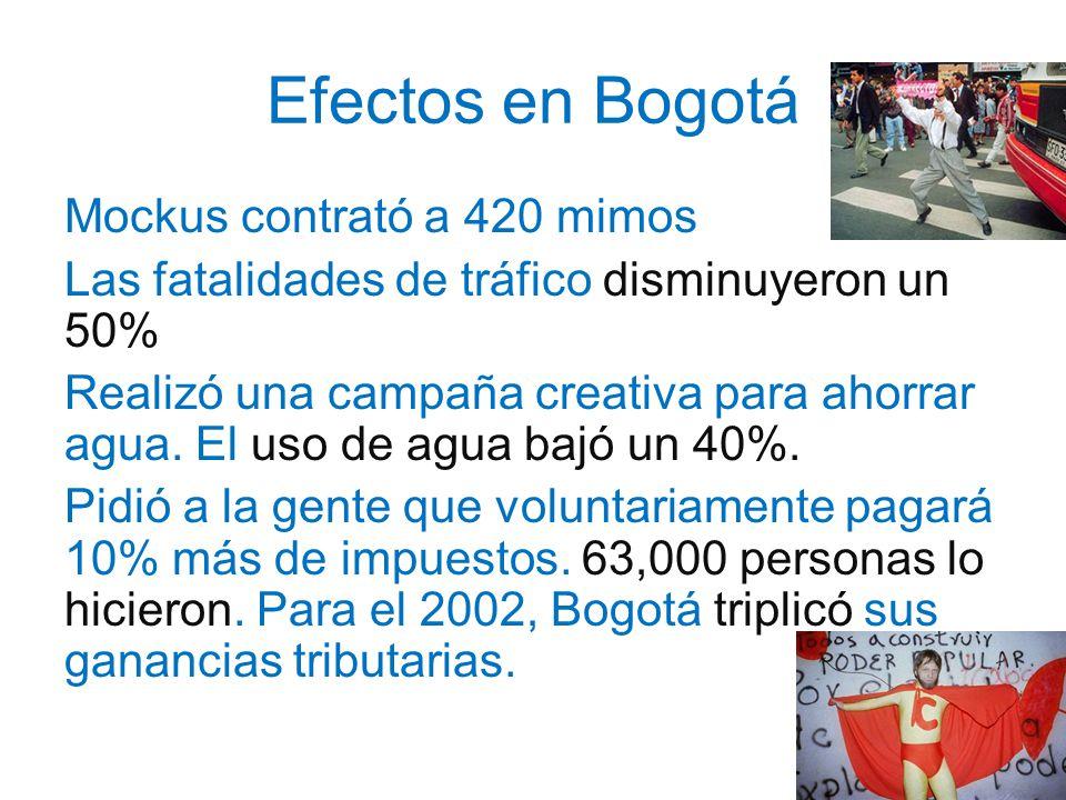 Efectos en Bogotá Mockus contrató a 420 mimos