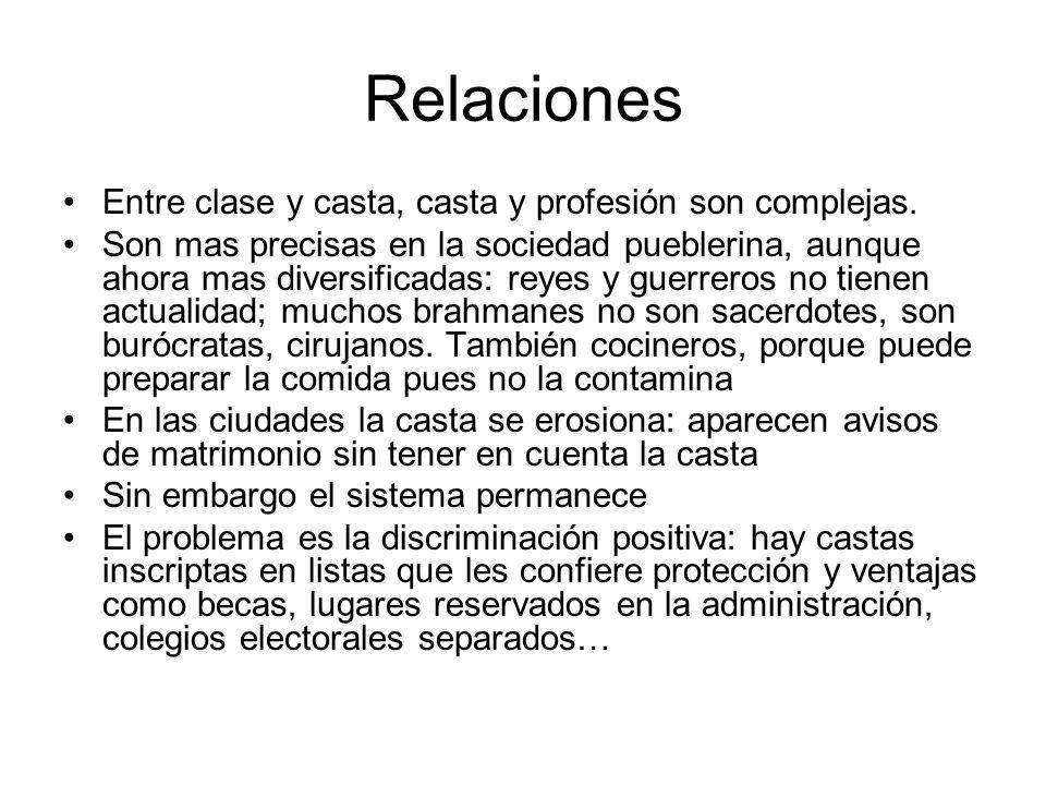 Relaciones Entre clase y casta, casta y profesión son complejas.