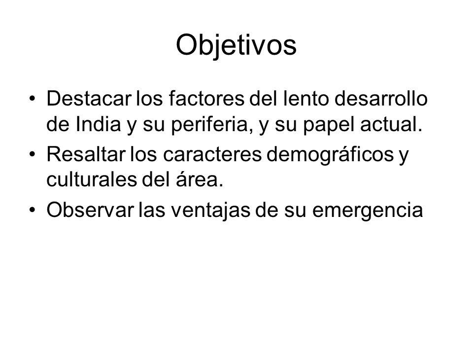 Objetivos Destacar los factores del lento desarrollo de India y su periferia, y su papel actual.