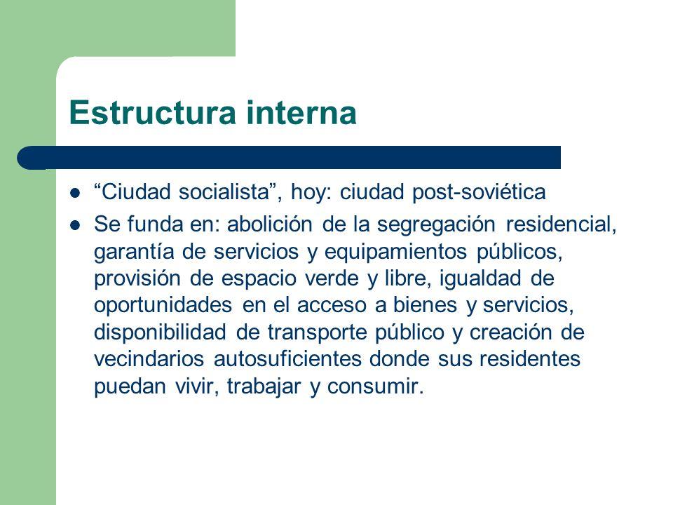 Estructura interna Ciudad socialista , hoy: ciudad post-soviética