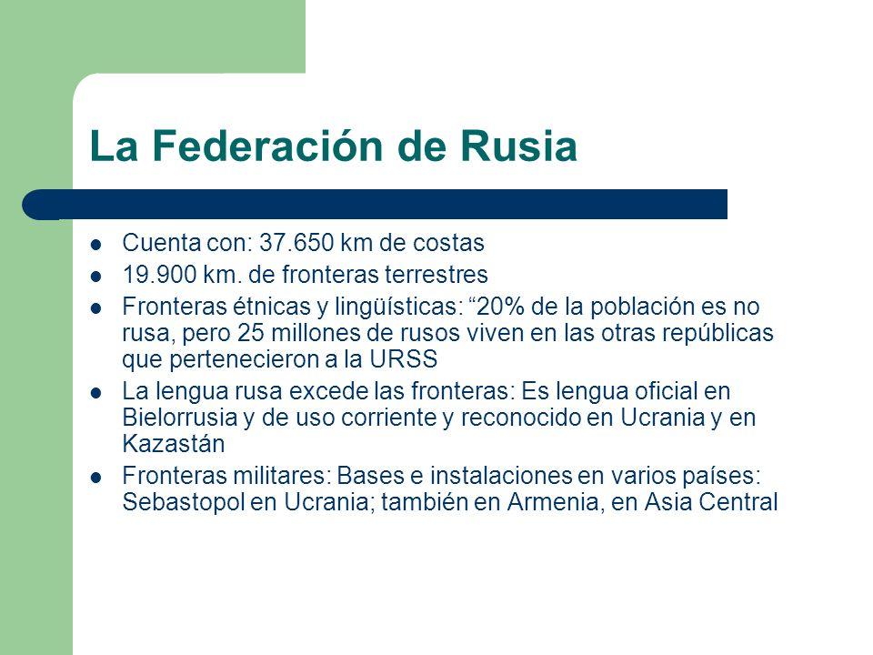 La Federación de Rusia Cuenta con: 37.650 km de costas