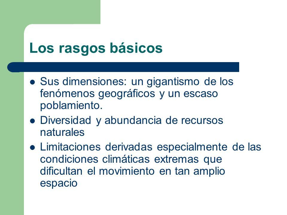 Los rasgos básicos Sus dimensiones: un gigantismo de los fenómenos geográficos y un escaso poblamiento.
