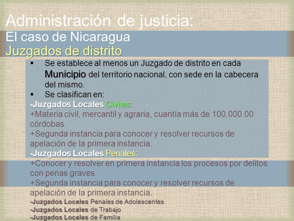 Administración de justicia: El caso de Nicaragua Juzgados de distrito