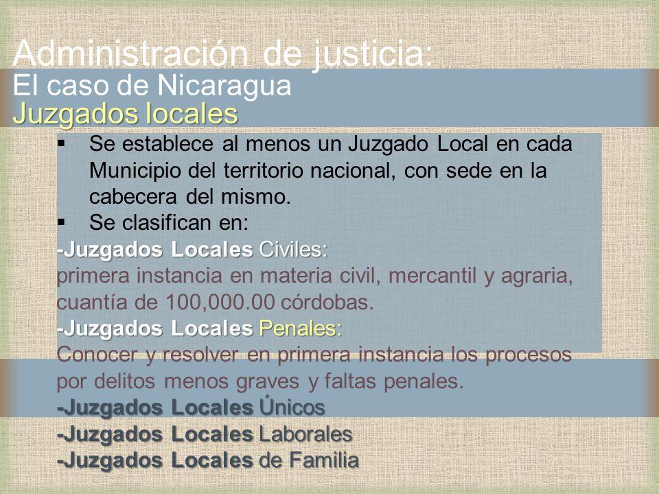 Administración de justicia: El caso de Nicaragua Juzgados locales