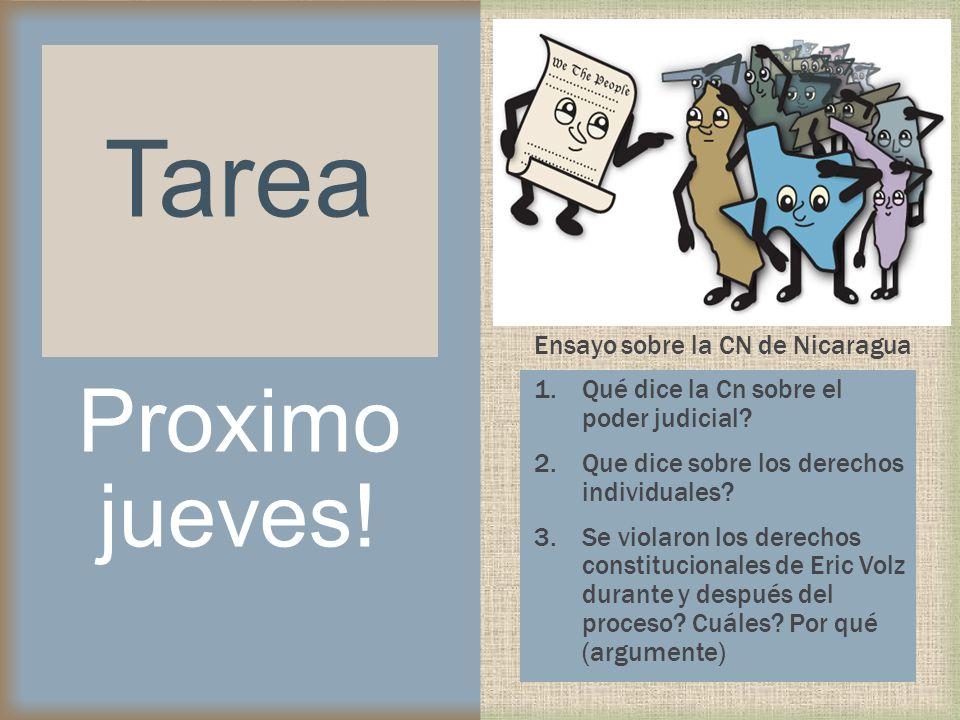 Tarea Proximo jueves! Ensayo sobre la CN de Nicaragua
