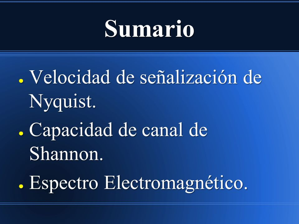 Sumario Velocidad de señalización de Nyquist.