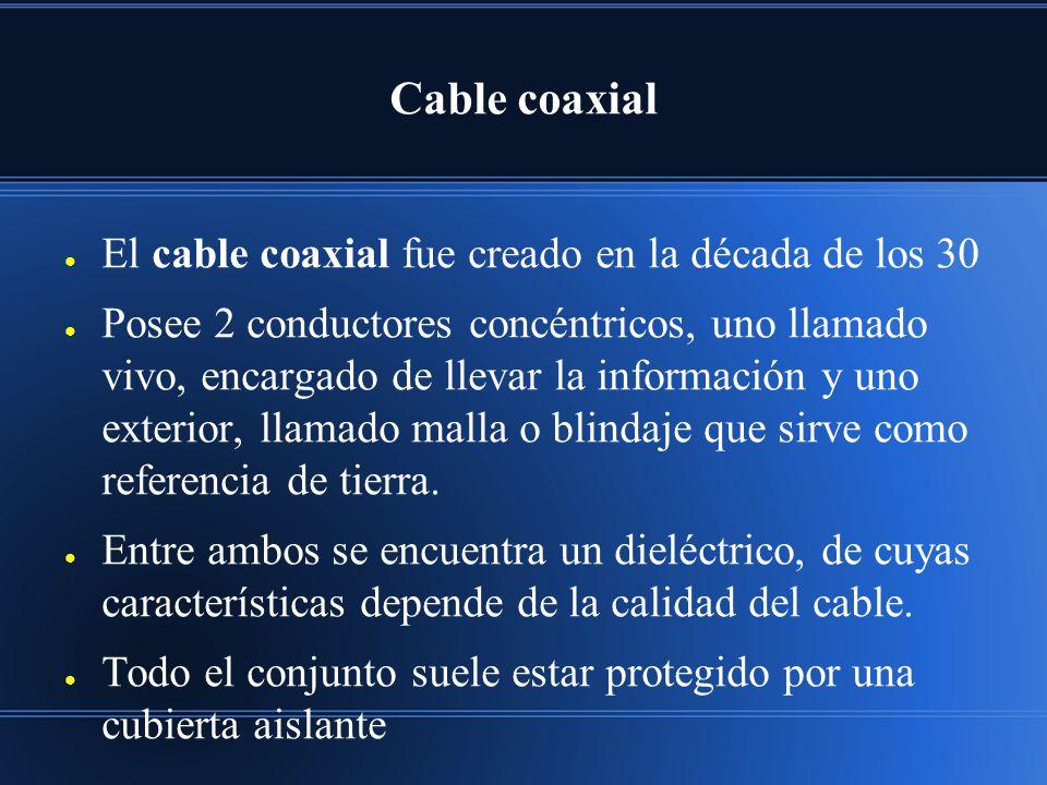 Cable coaxial El cable coaxial fue creado en la década de los 30