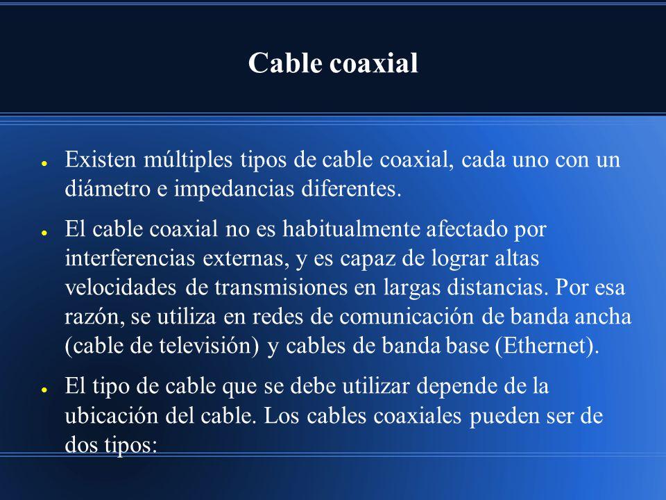 Cable coaxial Existen múltiples tipos de cable coaxial, cada uno con un diámetro e impedancias diferentes.